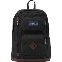 JanSport Austin Backpack- Discontinued Colors - Black - School... ($27) ❤ liked on Polyvore featuring bags, backpacks, black, jansport backpack, faux leather laptop bag, vegan bags, backpack laptop bag and backpack bags