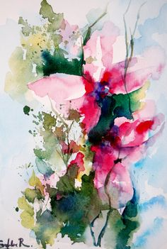 Original Watercolor Painting. Abstract Flowers by CanotStop