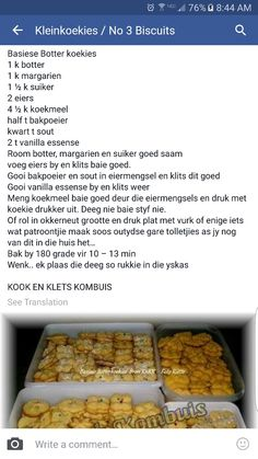 Botter koekies Kos, Baking Recipes, Cookie Recipes, Dessert Recipes, Desserts, South African Recipes, Biscuit Recipe, No Bake Cake, Sweet Recipes