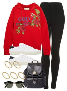 """""""Sin título #12649"""" by vany-alvarado ❤ liked on Polyvore featuring Topshop, Gucci, Yves Saint Laurent, Coach, Ray-Ban and Made"""