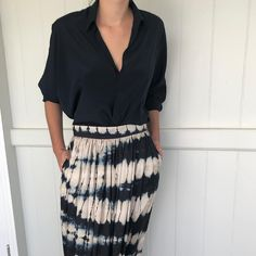 The Billie shirt in French navy crepe silk paired with three different bottoms for three different looks.Classic, relaxed and effortless is the essence of the Harper label Sustainable Fashion, Lace Skirt, Label, French, Silk, Navy, Classic, Skirts, Instagram