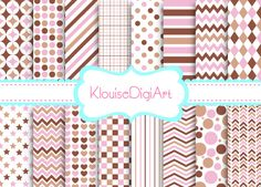 16 Digital Papers PLUS 3 SOLIDS Three Tone2 17 by KlouiseDigiArt, $2.00