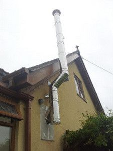 Installing a twin wall flue chimney - a stove installer details all Antique Wood Stove, How To Antique Wood, Home Fireplace, Fireplaces, Wood Stove Chimney, Wood Stove Installation, Small Wood Burning Stove, Stove Parts, Roof Flashing