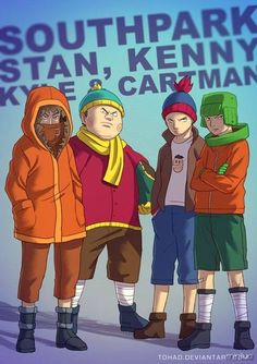 Kenny, Cartman, Stan & Kyle [feat. Terrance] (Drawing by Tohad @deviantART) #SouthPark
