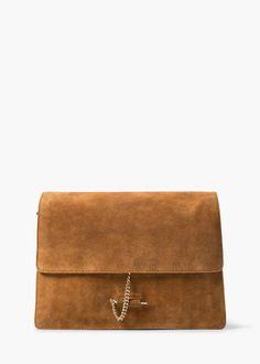 Chain suede bag - Bags for Women | MANGO