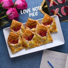Leave that special someone a perfect love note pie! Feed their hearts and their tummies! Happy Valentines Day from SO YUMMY! Easy Desserts, Delicious Desserts, Dessert Recipes, Yummy Food, Tasty, Comfort Food, Creative Food, Love Food, Baking Recipes