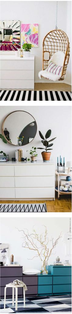Living room storage solutions: MALM. A dresser doesn't have to only be in the bedroom. Here are some inspirational examples from @designsponge and @ desiretoinspire.