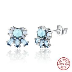 European Fashion 100% 925 Sterling Silver jewellery Multi-Colored Crystal Frost Stud Earrings for Women //Price: $US $7.74 & FREE Shipping //     #cosmetics