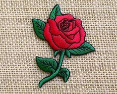 "Rose Patches. Iron On Patch for Jackets and Backpacks. Red Rose Patches. Size: 3"" Rock Grunge Punk Band Tumblr Iron On Patches."