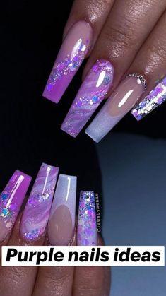 Acrylic Nails Coffin Pink, Long Square Acrylic Nails, Coffin Nails, Purple Nail Designs, Cute Acrylic Nail Designs, Purple Nails, Bling Nails, Lavender Nails, Summer Nails