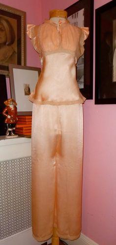Vintage 1930s Peach Silk Pajamas - 1930s Satin Pajama Set - 30s Bias Cut Pajamas - Vintage Bridal Lingerie - Satin Lace Boudoir Set-Size M. $163.00, via Etsy.