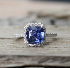 GIA Certified 2.36 Cts. Cushion Cornflower Blue Sapphire Diamond  Engagement Ring in 14K White Gold