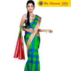 fabf1fd9e61180 Green with Blue colour Bairavi Silk Saree