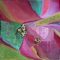 "STONECROP Acrylic & Cut Paper on Canvas 30"" x 30"""