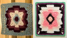 Southwestern Blanket Crochet Square: Free pattern with modified border so you can use the block on its own, as a table mat