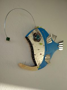 Fish sculpture made with Wood, Metal, Glass, and driftwood. Handmade by Unikos Arts Give your wall b Fish Wall Art, Fish Art, Fish Fish, Metal Fish, Wooden Fish, Fish Sculpture, Steel Art, Coastal Wall Art, Metal Tree Wall Art