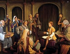 16-Later in Jesus' 11th year, Caesar exiles cruel King Herod Archelaus; so, when Jesus is 12, it is now safe for him to visit the temple.  He finds the scholars and amazes them with his knowledge.  He even questions them and sometimes they have no answers.