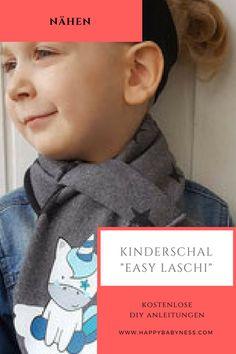 """#KINDERSCHAL """"EASY LASCHI"""" ___ ***  Kostenlose #DIY Anleitung auf Deutsch mit #Schnittmuster: #Babymode & #Kindermode für #Jungs & #Mädchen #Nähen   happybabyness.com   ___ ***  Free #Pattern #Tutorials: #Sewing #Children #Clothes for #Boys & #Girls"""