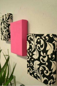 Fabric-covered canvas wall art