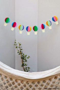 Mini balões de papel para decoração de festa e quarto infantil ~ VillarteDesign Artesanato