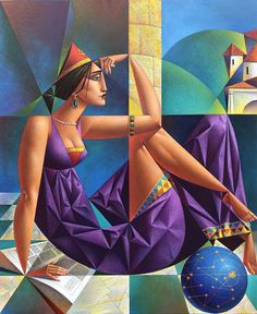 Artist Georgy Kurasov, the painter, the sculptor Cubist Artists, Cubism Art, Pop Art, Figurative Kunst, Illustration Art, Illustrations, Fine Art, Contemporary Paintings, Art Day