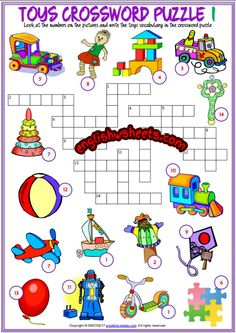 Toys Crossword Puzzle ESL Printable Worksheets For Kids 4th Grade Math Worksheets, Maths Puzzles, Vocabulary Worksheets, Puzzles For Kids, Kindergarten Activities, Reading Activities, Teach English To Kids, English Worksheets For Kids, Kids English