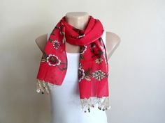 Coral Red Cotton Scarf for Womens Yemeni Scarf by fizzaccessory. www.etsy.com/listing/159330928