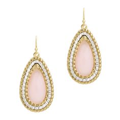 Teardrop shaped earring on brushed gold French wire has a large light pink faceted stone set in three alternating rows of gold and silver. Casual elegance make these earrings work for weekday through the weekend.