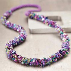 Can you believe this is crocheted? Love the fun colors of this free crochet jewelry project.