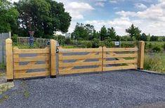 Luxe Inrijpoort Hek Eikenhout 110 x 400 cm 4 planks Glad geschaafd Diy Gate, Diy Fence, Fence Gate, Timber Gates, Wooden Gates, Farm Gate, Farm Fence, Driveway Entrance, Entrance Gates