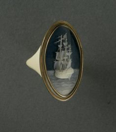 one of the most amazing things i've ever seen  Carved ivory ship ring, from late 18th century England (via).