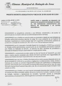 Irani Lima: CÂMARA DE REDENÇÃO DA SERRA  CASSA PREFEITO E DÁ P...