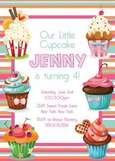 CUPCAKES Birthday Party Themed Invitation size  by PaperPartyCo, $15.95