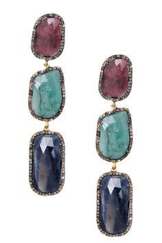 Diamond Sapphire Freeform Triple Drop Earrings by Jewels By Lori K on @HauteLook