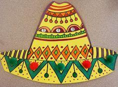 Cinco de Mayo Sombreros - great line project (math & art) Hispanic Art, 4th Grade Art, Ecole Art, Spring Art, Art Lessons Elementary, Mexican Art, Elements Of Art, Art Lesson Plans, Art Classroom