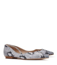Lorna Blue Snake-Effect Leather Shoes - REISS