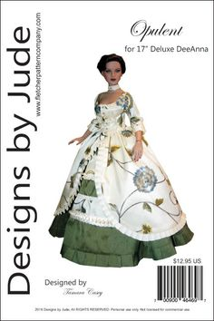 PDF Opulent Gown Pattern for Super Deluxe Deeanna & Lara Croft Dolls Tonner Doll Clothes Patterns, Clothing Patterns, Dress Patterns, Sewing Patterns, Doll Patterns, Doll Fancy Dress, Regency Dress, Gown Pattern, Fashion Dolls