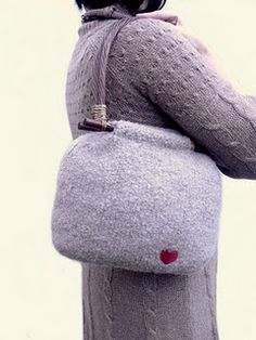 Felted, gray purse with little red heart, so cute!