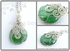 Glass stone + inox, silverplated and blue hobby wire + long chain (70 cm)    Size: 6 x 3 cm
