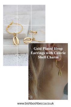 Think of blue skies and a light breeze in your hair. These gold plated seashell hoop earrings will be your favourite Summer earrings.