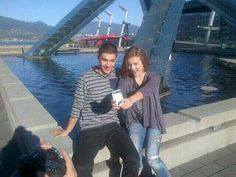 Brittany and Trevon shooting some stuff for Family Channel's #StandUP tour stop in Vancouver #TheNextStep