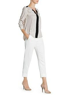 Printed blouse with contrast panels, notched round neck and buttoned long sleeves. Mango Clothing, Panel, Printed Blouse, Contrast, Capri Pants, Queen, My Style, Clothes, Tops