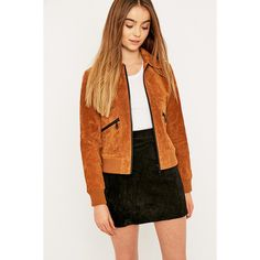 Cooperative by Urban Outfitters Urban Outfitters Suede '70s Bomber... ($195) ❤ liked on Polyvore featuring outerwear, jackets, taupe, cropped bomber jacket, bomber jacket, zip front jacket, suede jacket e collar jacket