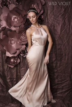 GEORGIA Soft Satin Halter Neck Bridesmaid And Formal Dress In Shell Pink