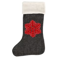 Grey felt houndstooth stocking with a snowflake applique.   Product:  Stocking Construction Material: Felt