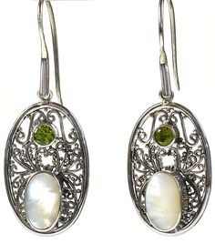 Christine Peridot and White Shell Sterling Silver Earrings - a delicate scroll design and tiny silver beads beautifully accent an oval white shell and a round facet cut green peridot. http://simplybeautiful2012.com/christine-peridot-and-white-shell-sterlings-silver-earrings.html#