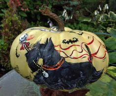 Scottie Halloween Parade Pumpkin Scottish Terrier Hand Pntd  Decorative Art