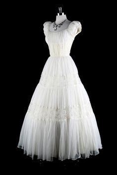 Vintage 1940s White Chiffon Lace wedding Dress.  You would look SO cute in this!  Accentuate your tiny waist.