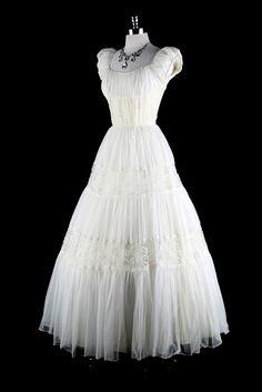Beautiful 1940s vintage wedding dress.