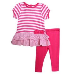 Absorba Infant Baby Girls 2 Piece Pink Striped Ruffle Top Leggings Summer Set